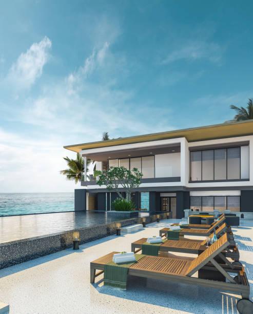 meer blick schwimmbad im modernen loft-design, luxus-meer-strand-haus - traumhaus stock-fotos und bilder