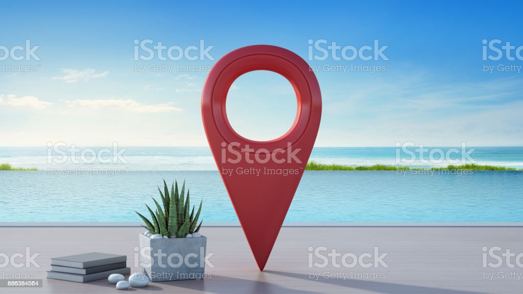 Sea view swimming pool of luxury beach house in travel and relaxation concept, Location pin icon near plant on wooden floor terrace at vacation home or hotel, Tourist resort 3d illustration stock photo