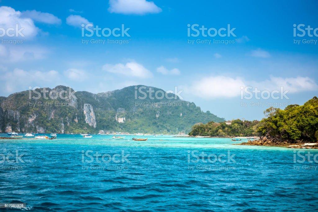 Sea view to Phi Phi island stock photo