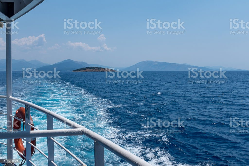 Sea view with islands from ship deck stock photo