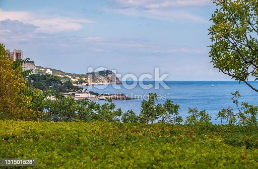 Sea view with rocky beaches and cliffs. Tourism in the Crimea. Summer photo of a sea landscape. Crimean Mountains and sea near town of Alupka, Crimea.