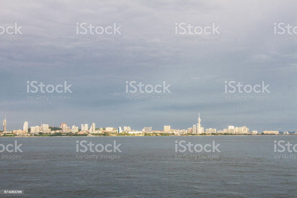 Sea view with sky and buildings Pattaya, Pattaya, thailand royalty-free stock photo