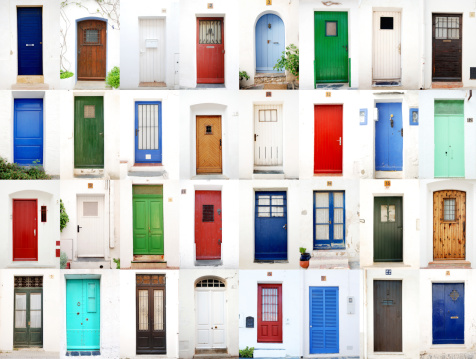 Set of 32 doors on typical whitewashed walls coming from Costa Brava's mediterranean sea and fishermen's villages (Cadaqués, Llafranch, Calella,Tossa de Mar etc)