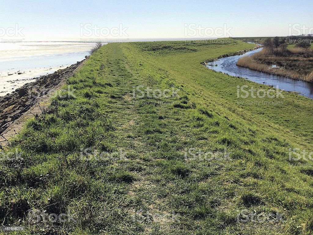 Sea Wall, Gwent Levels stock photo