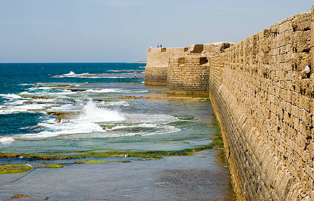 Sea walls of Old Akko stock photo