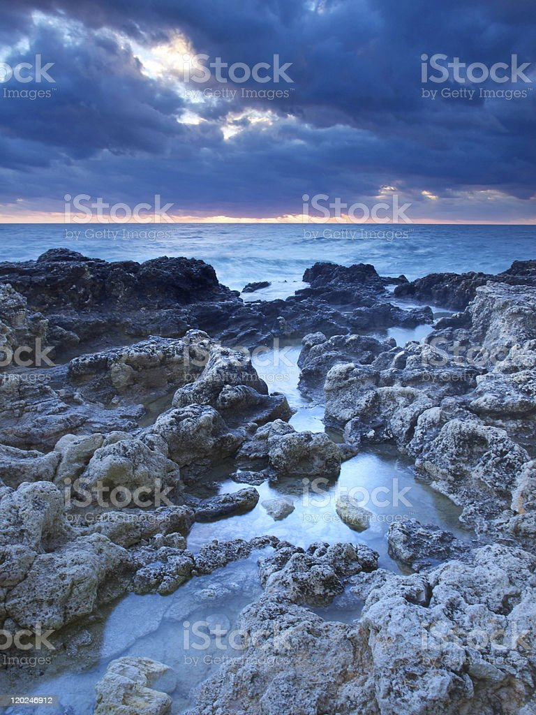 Sea water amongst stone royalty-free stock photo