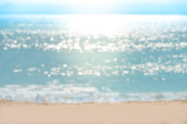 Sea water bokeh and sand beach stock photo