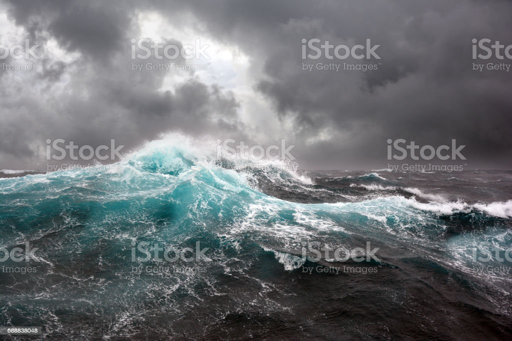 Sea wave during storm in the Atlantic ocean. stock photo