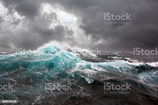 Photo of Sea wave during storm in the Atlantic ocean.
