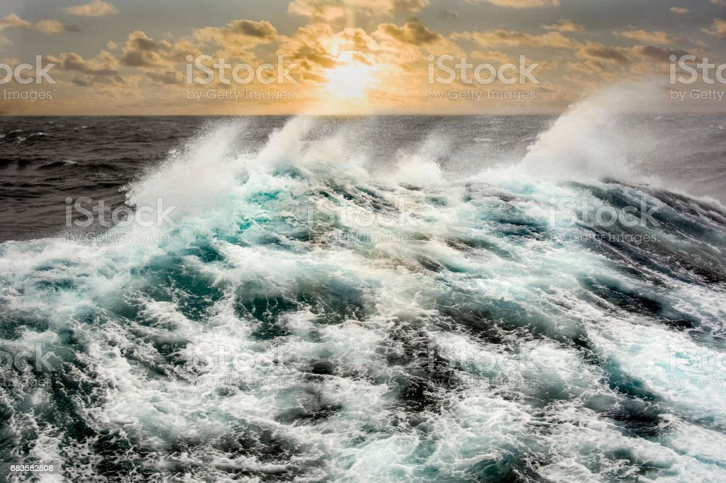 Sea wave in the Atlantic Ocean during storm. stock photo