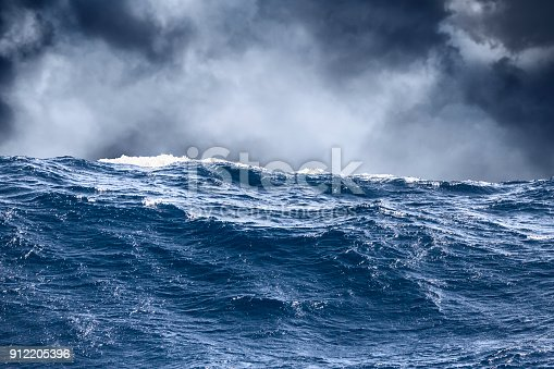 istock Sea wave surface close-up with storm clouds in the background 912205396