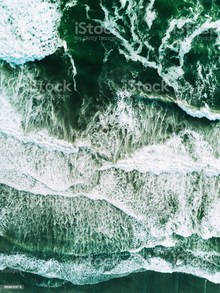 sea waves aerial view stock photo