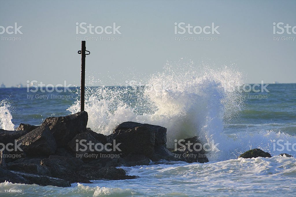 Sea waves and splashes royalty-free stock photo