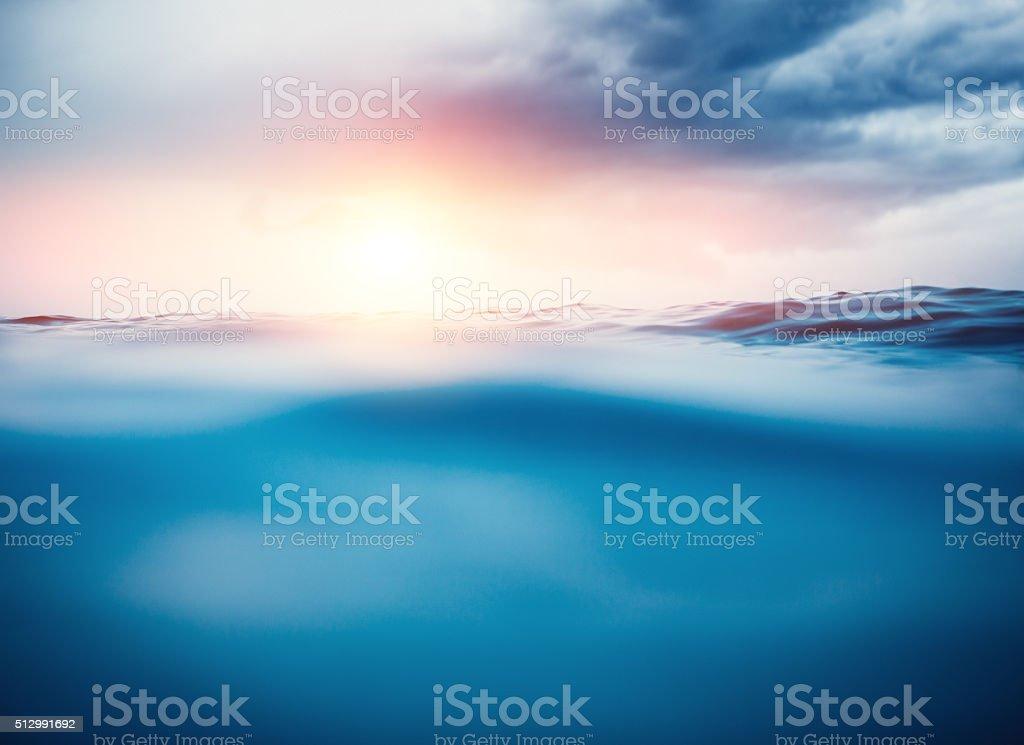 Sea Waves At Sunset stock photo