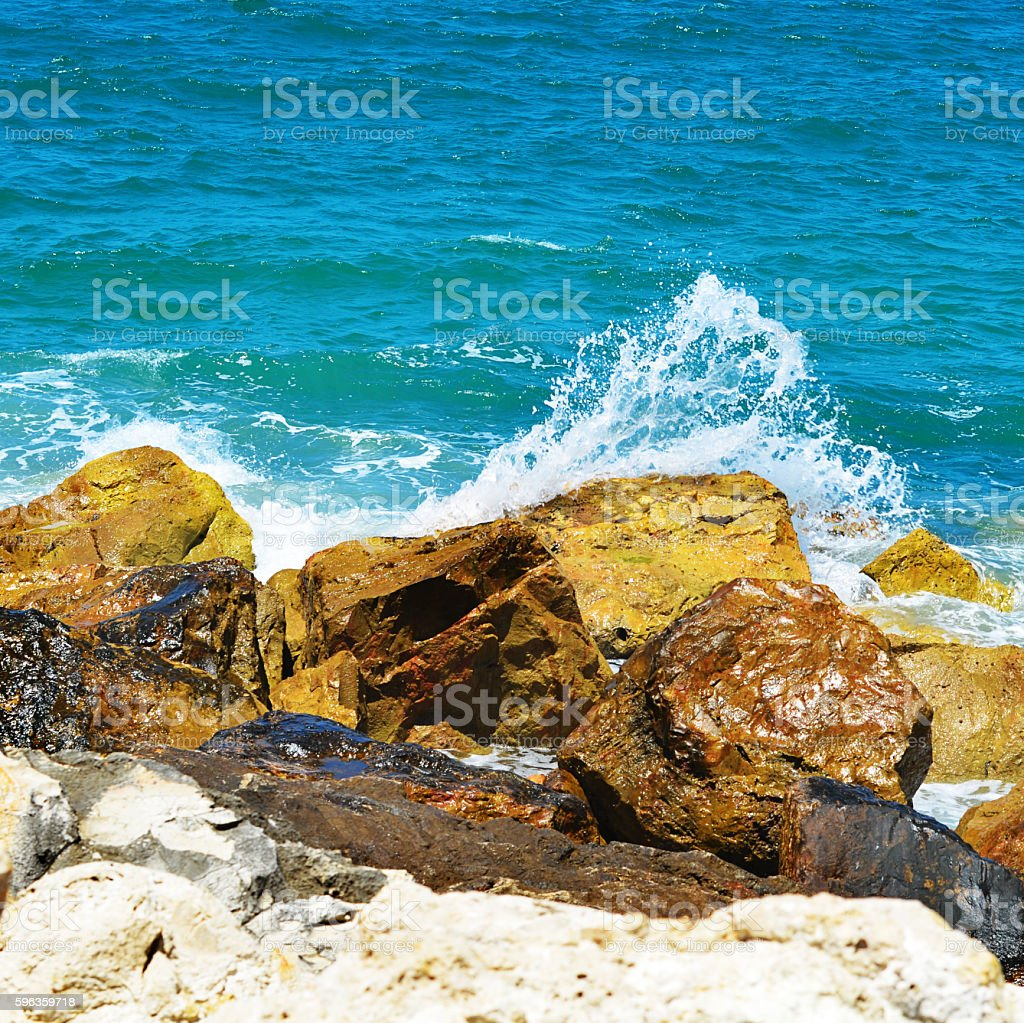 Sea waves break about stones royalty-free stock photo