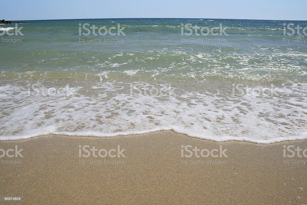 Sea waves on tropical beach royalty-free stock photo