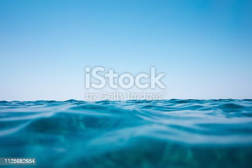 Sea waves background. View from underwater.
