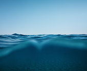 Smooth sea waves on a beautiful summer day in Greece (combined underwater and surface view).