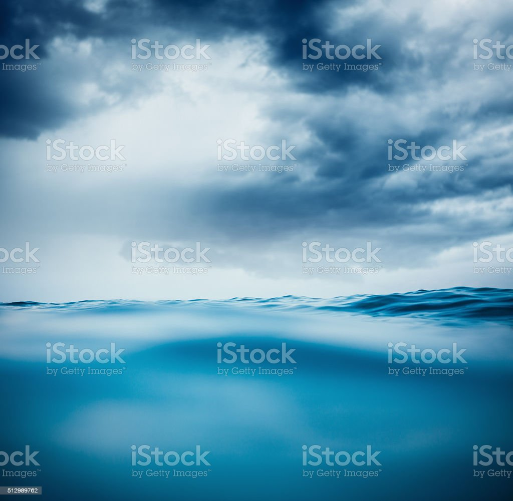Sea Waves With Dramatic Clouds stock photo