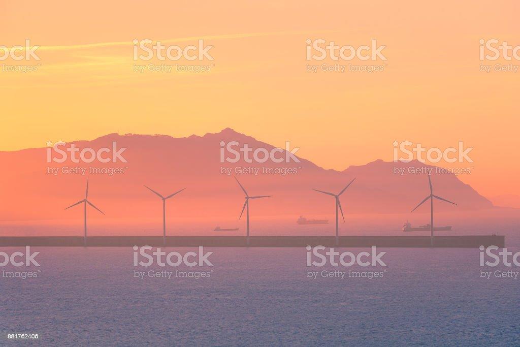 sea wind turbines stock photo