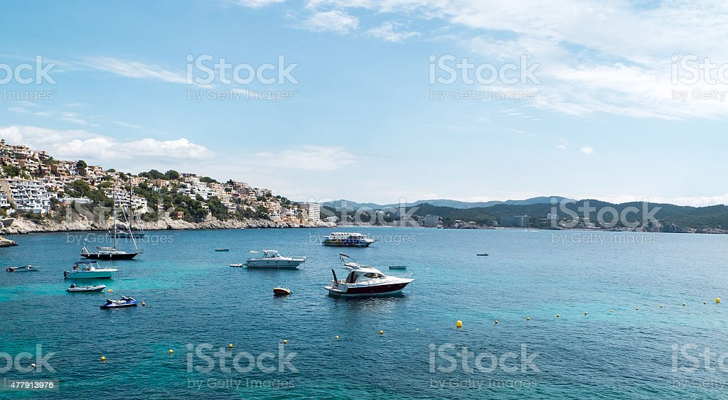 sea with boats stock photo