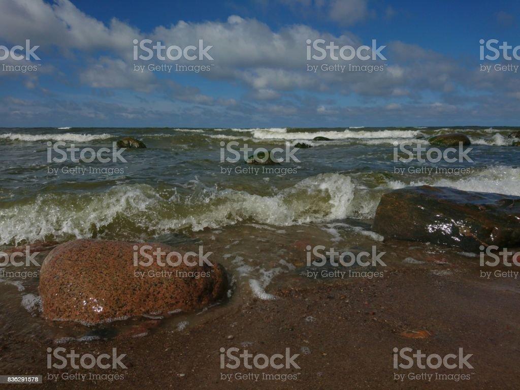 Sea with stones stock photo