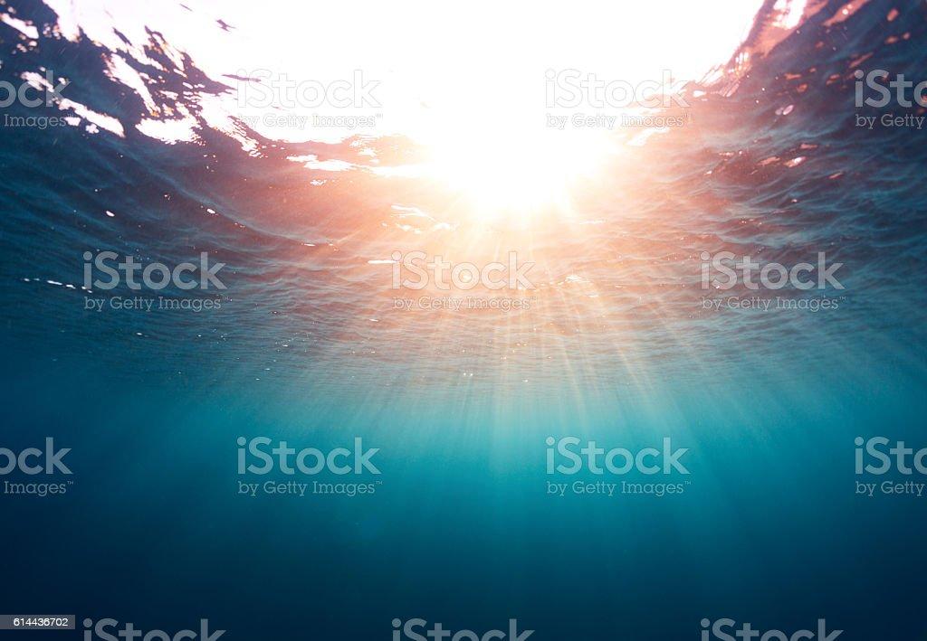 Sea with sun stock photo