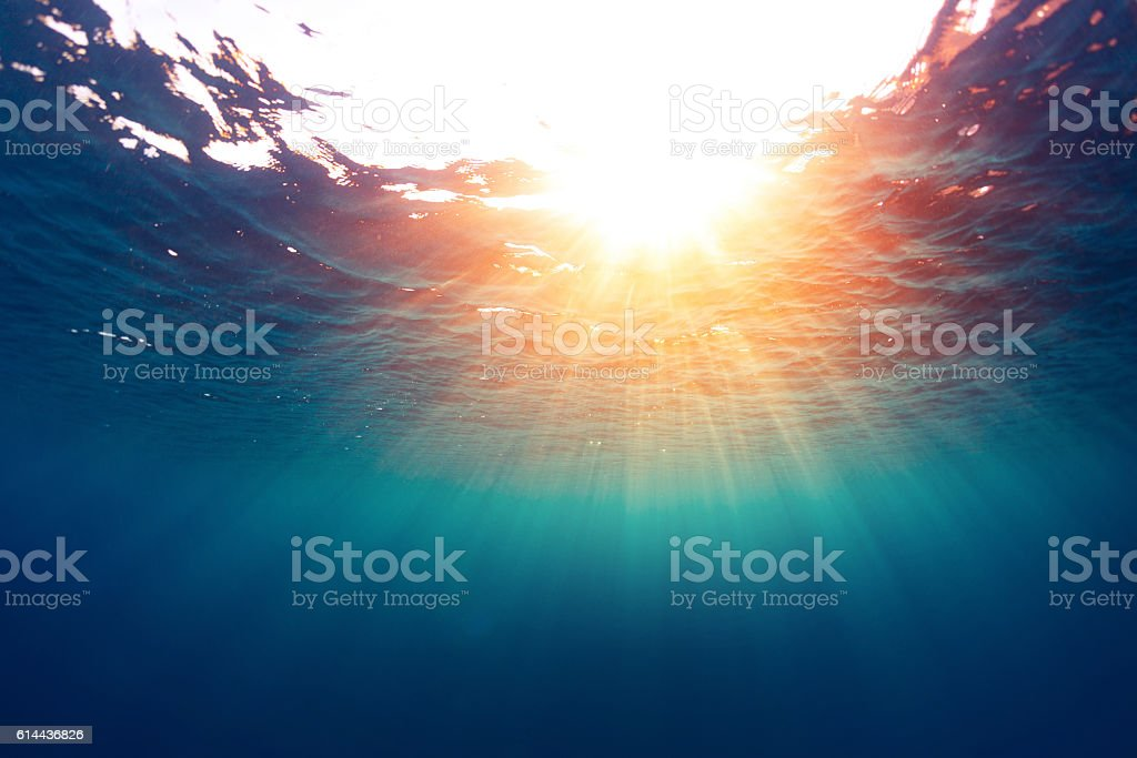 Sea with sun stock photo