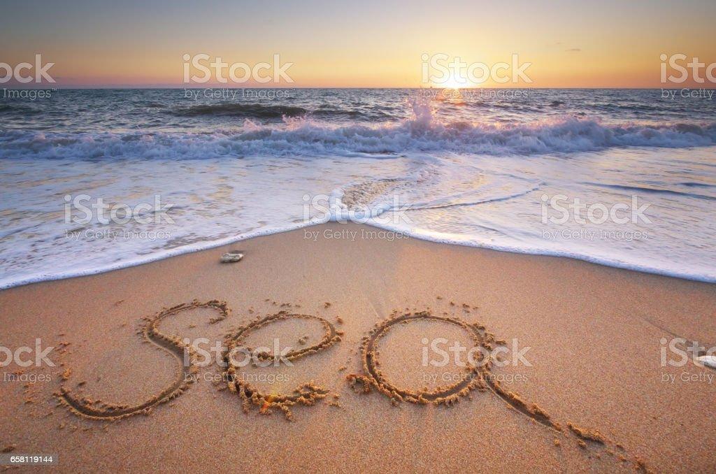 Sea word on the beach. stock photo