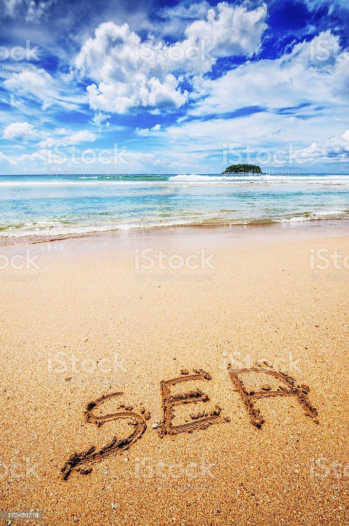 Sea Written on the Sand stock photo