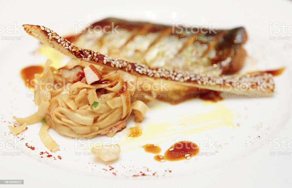 Seabass cooked in asian style royalty-free stock photo