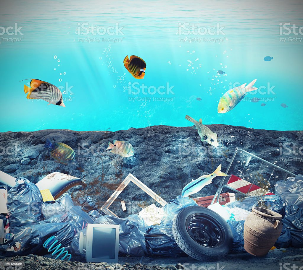 Seabed pollution stock photo