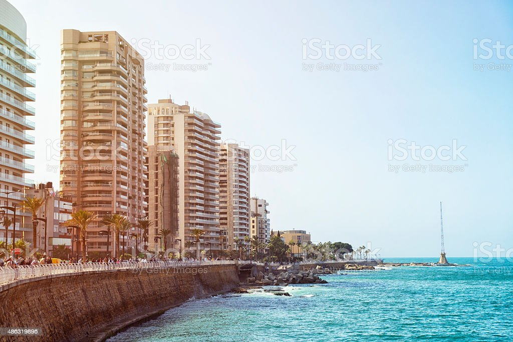 Seaboard of Beirut with radio tower stock photo