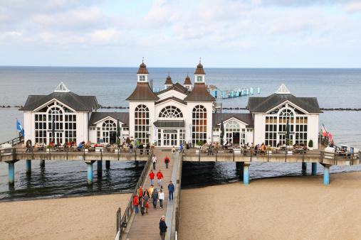 Seabridge with restaurants in Sellin at Baltic Sea