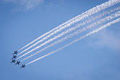 Seattle, USA - August 5, 2016: The Elite US Navy Blue Angels flying over Seafair during the airshow over Lake Union mid-day.