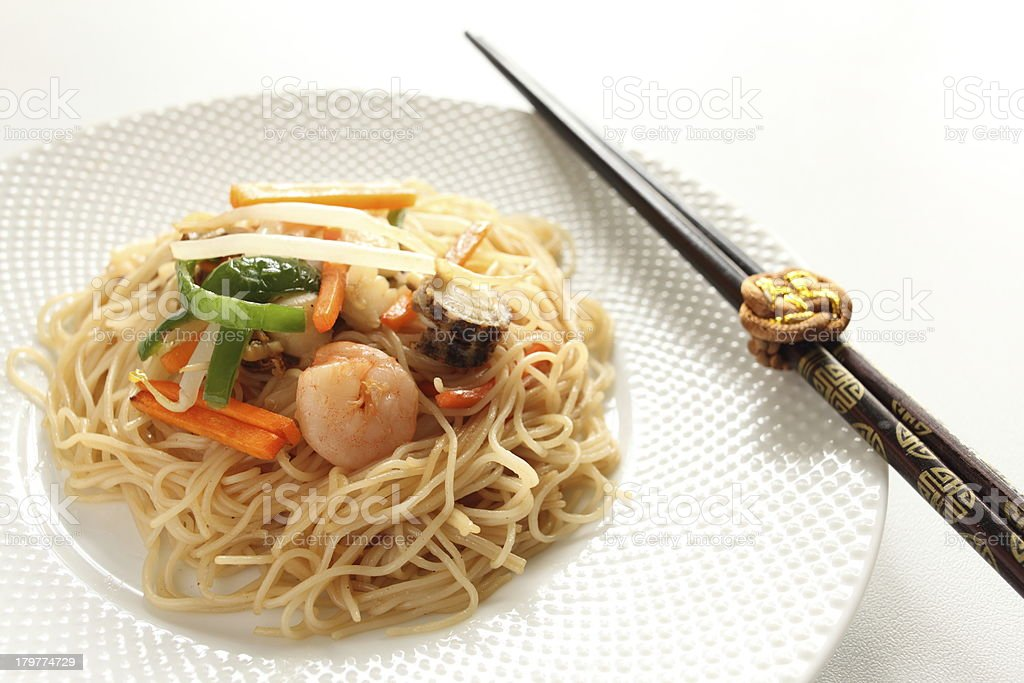 seafood and rice noodles stir fried royalty-free stock photo