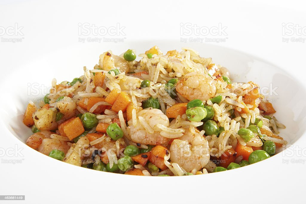 seafood and rice on white background stock photo
