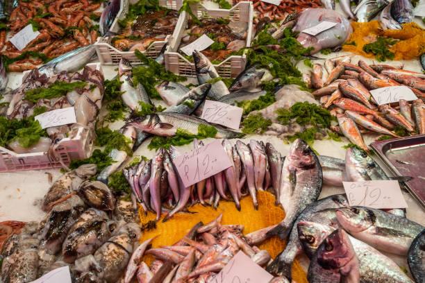 Seafood at La Pescheria fish market in Catania, Sicily, Italy stock photo