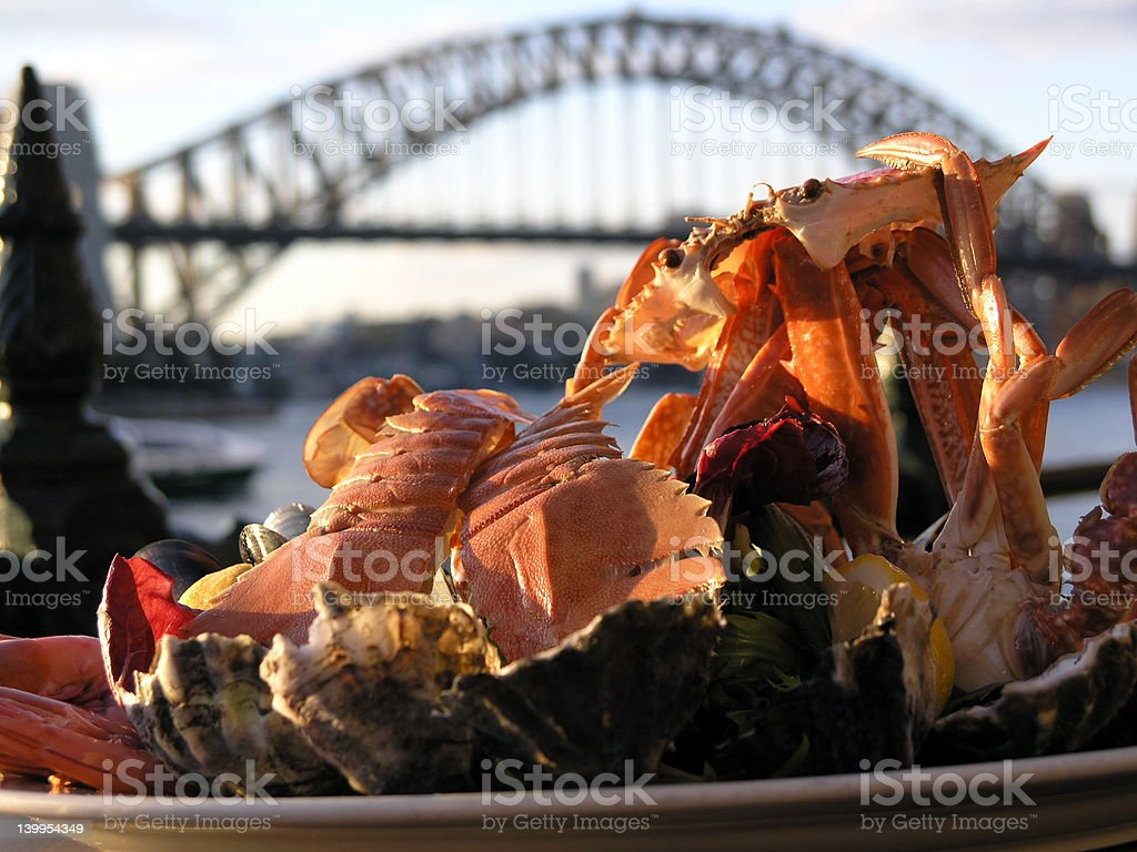 Seafood at Sunset in Sydney royalty-free stock photo