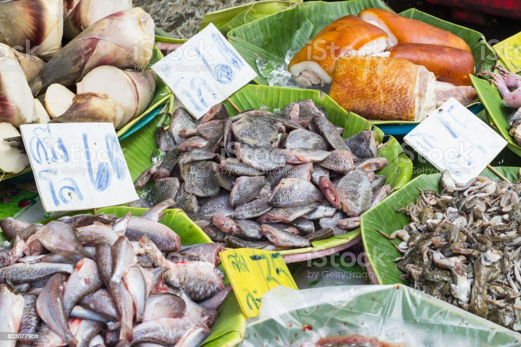 Seafood at the fish market. stock photo