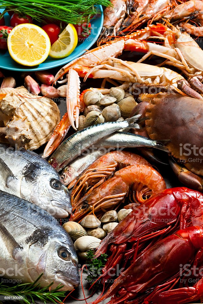 Fondo de pescados y mariscos - foto de stock