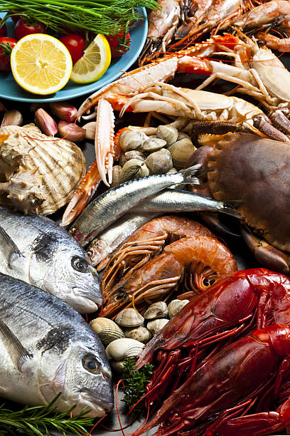Seafood background stock photo