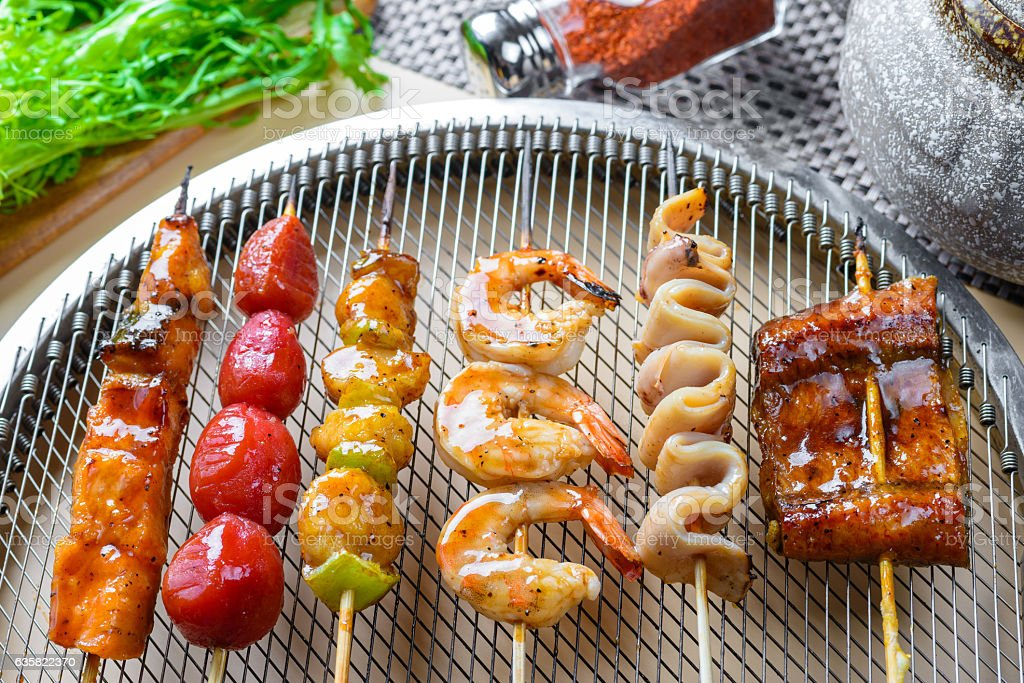 Seafood barbecue on grill stock photo