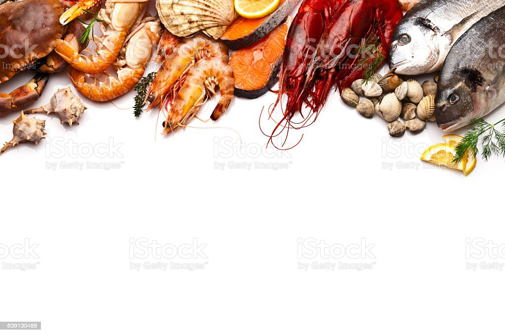 Seafood border with white copy space stock photo