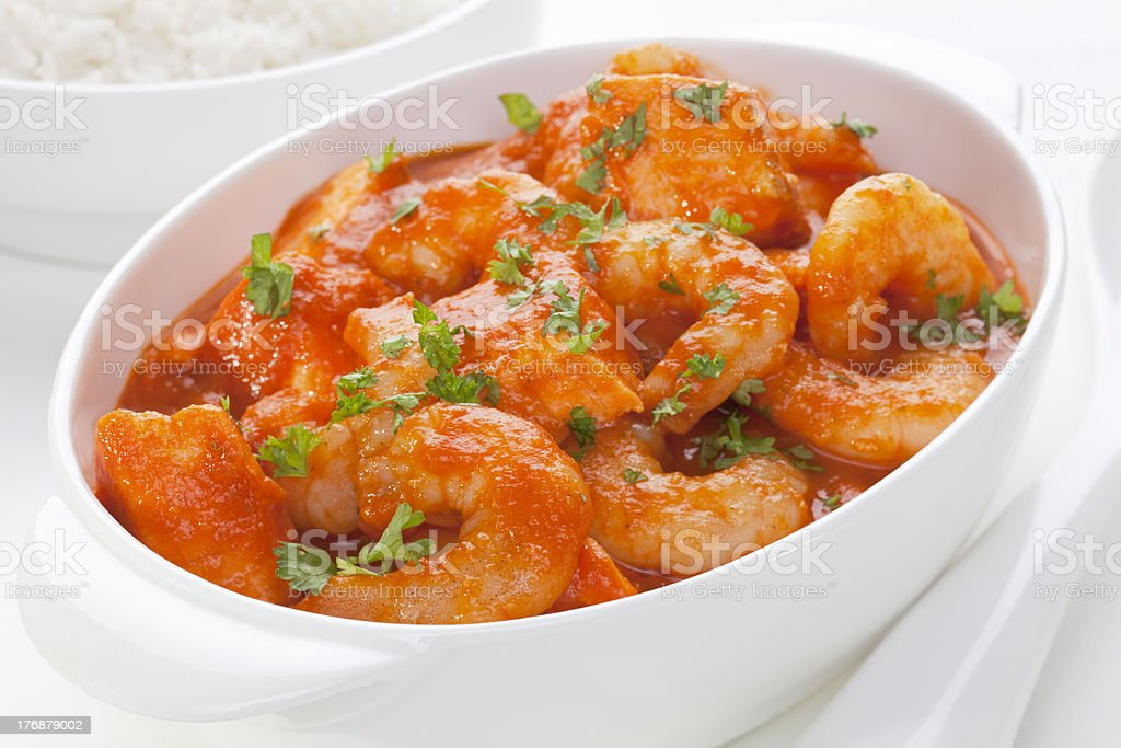 Seafood Casserole with Prawns and Salmon stock photo