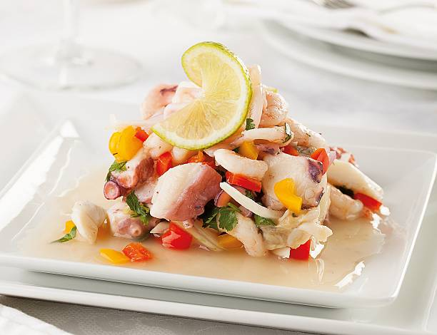 Seafood ceviche A typical seafood raw fish ceviche from Peru peruvian culture stock pictures, royalty-free photos & images