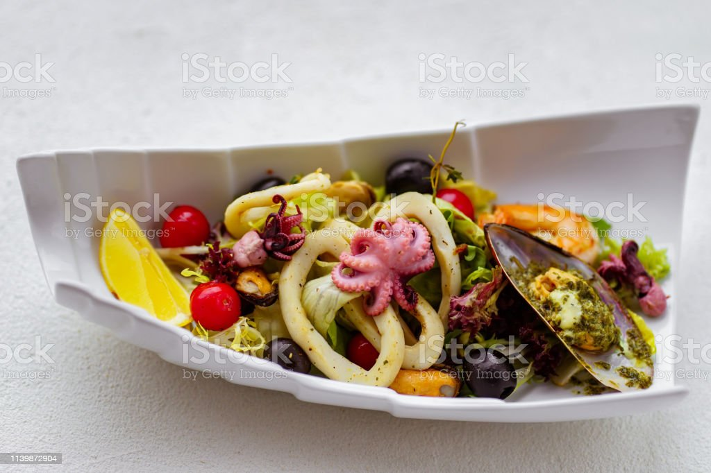 Seafood Cocktail Chefs Salad Restaurant Menu Stock Photo