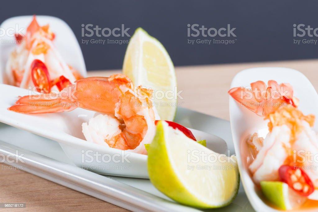 Seafood cocktail  prawn in spicy seafood dip zbiór zdjęć royalty-free