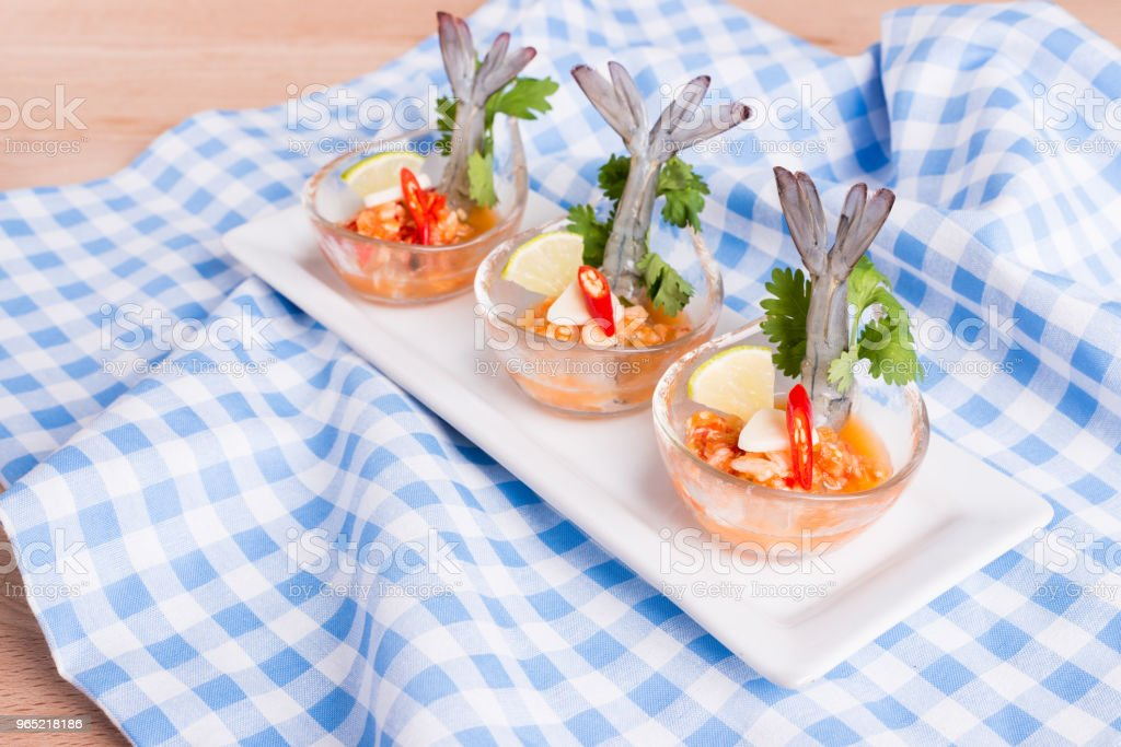 Seafood cocktail  prawn in spicy seafood dip royalty-free stock photo