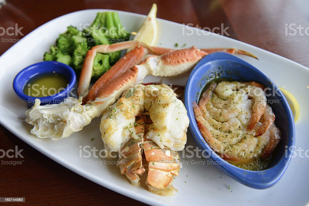 Seafood combo dinner royalty-free stock photo